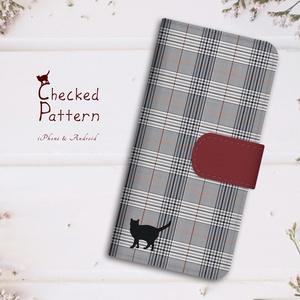 【名入れok】猫とグレンチェックの手帳型スマホケース(ボルドー)
