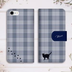 【名入れok】猫とグレンチェックの手帳型スマホケース(ネイビー)