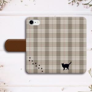 【名入れok】猫とグレンチェックの手帳型スマホケース(ブラウン)