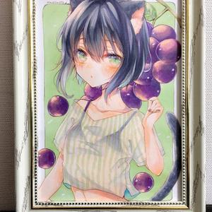アナログ原画 オリジナル ぶどう猫ちゃん