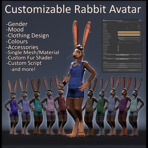 Customizable VRChat Rabbit Avatar Package