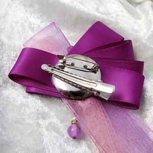 【ハロウィンカラー】月と星の輝く宇宙りぼんブローチ 紫