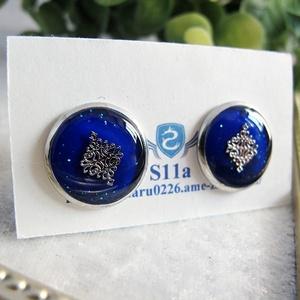 ゴシックモチーフのカフスボタン ロイヤルブルー シルバー金具