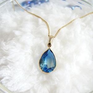 クリスタルガラスのしずく型ネックレス ブルー×アクア