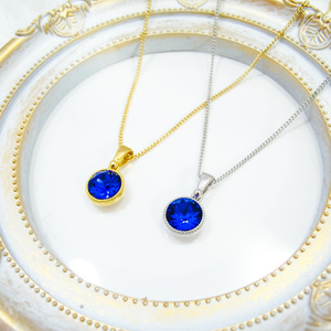 一粒サイズのシンプルなラウンドクリスタルネックレス マジェスティックブルー*選べる金具色