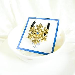 ゴールドの雪の結晶ヘアゴム 選べるスワロフスキーカラー