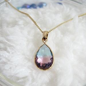 クリスタルガラスのしずく型ネックレス アクア×ピンク