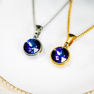 シンプルなまるいクリスタルガラスのネックレス クリスタルヘリオトロープ*金具の色が選べます