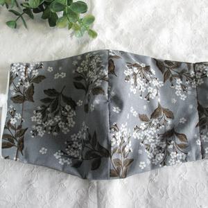 秋冬マスク 綿×ダブルガーゼマスク グレー×カーキ 大人用 繰り返し洗えます。