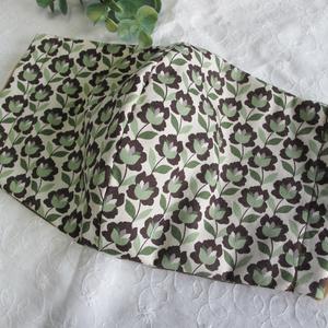 秋冬マスク 綿×ダブルガーゼマスク ブラウン×スモークグリーン 大人用 繰り返し洗えます。
