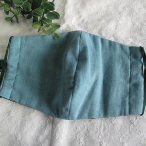秋冬マスク ダブルガーゼマスク スモークグリーン×カーキ 大人用 繰り返し洗えます。