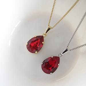 *ドロップ型のクリスタルガラスのネックレス シャム 選べる金具色*