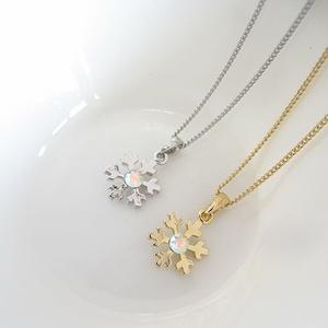 雪の結晶ネックレス クリスタルオーロラ 金具色選択可能