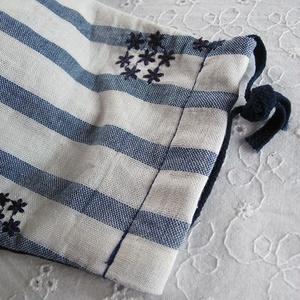 秋冬マスク ダブルガーゼマスク 刺繍花柄ネイビー・ボーダー 大人用 繰り返し洗えます。