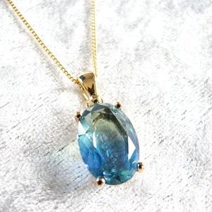 きれいめ上品な ブルー×ブルーグリーンのオーバルカットネックレス 16kgf使用