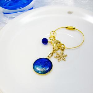 晴れた冬の雪景色のバックチャーム オーシャンブルー×シャンパンゴールド ゴールド金具