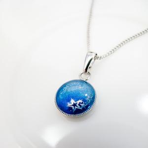 流れ星のネックレス スカイブルー×オーシャンブルー シルバー金具