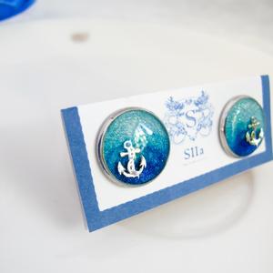 水色マリンのカフスボタン スカイブルー×オーシャンブルー