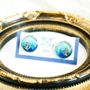 水色マリンのカフスボタン スカイブルー×オーシャンブルー シルバー金具