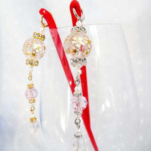 きれいな桜ガラスビーズのかんざし ~クリア~  ゴールド金具とシルバー金具