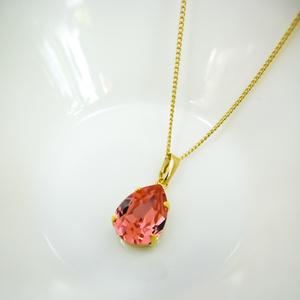 しずくサイズのスワロフスキークリスタルのネックレス ローズピーチ*金具の色が選べます