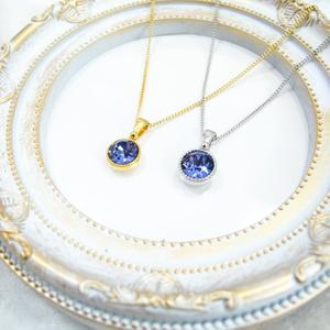 *まるいシンプルなクリスタルガラスのネックレス タンザナイト*金具の色が選べます