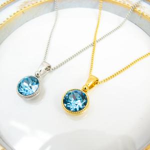 *シンプルなまるいスワロフスキーネックレス アクアマリン* 金具の色が選べます