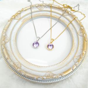 *シンプルなまるいスワロフスキーネックレス ヴァイオレット* 金具の色が選べます