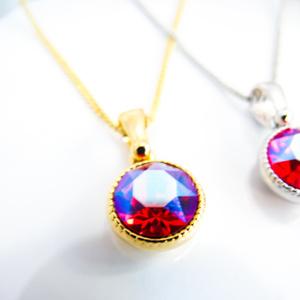 *シンプルなまるいスワロフスキーネックレス ライトシャム シマー* 金具の色が選べます