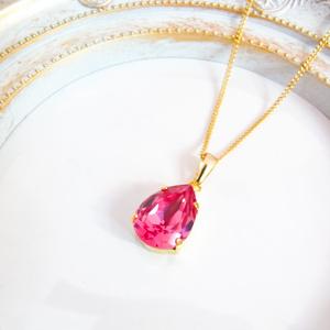 しずくサイズのクリスタルのネックレス ローズ*金具の色が選べます
