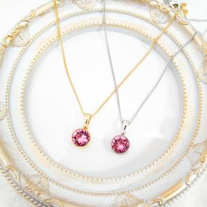 *シンプルなまるいクリスタルガラスのネックレス ローズ* 金具の色が選べます