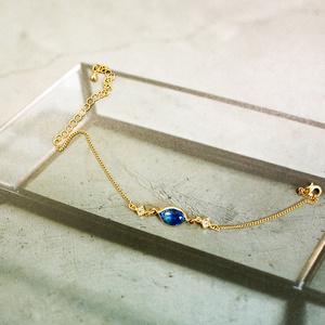 グラデーションクリスタルガラスのブレスレット ブルー×スカイブルー ゴールド金具