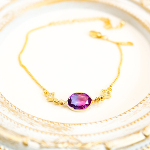 グラデーションクリスタルガラスのブレスレット ブルー×マゼンダ ゴールド金具