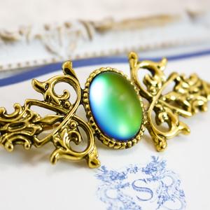 チェコヴィンテージ フロストガラスのアンティークブローチ ブルーグリーン ゴールド金具