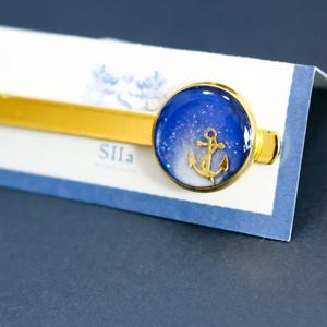爽やかマリンのネクタイピン ブルー×ホワイトパール ゴールド金具