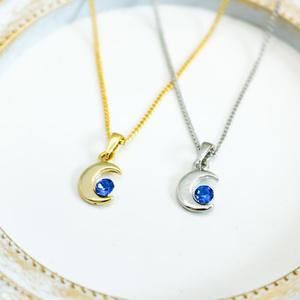 クリスタルムーンのネックレス サファイア 金具の色が選べます