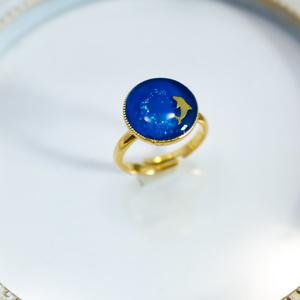 ~真夏のBLUE DOLPHIN RING~ シアン×シアンラメ フリーサイズ 金具の色が選べます