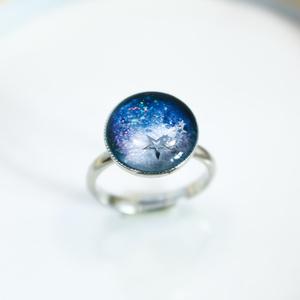 銀河を駆け巡る 流れ星のRing ネイビーラメ×ホワイトパール 金具の色が選べます。