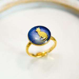 にゃんこRing ブルー×ブルーホワイト ゴールド金具
