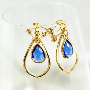 Teardrop のイヤリング  sapphireblue ゴールド金具