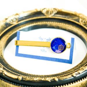 ネクタイピン雪 ロイヤルブルー×オーロラ 金具の色が選べます