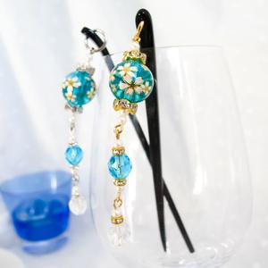 桜ガラスビーズのかんざし 水色 シルバー金具ゴールド金具選べます