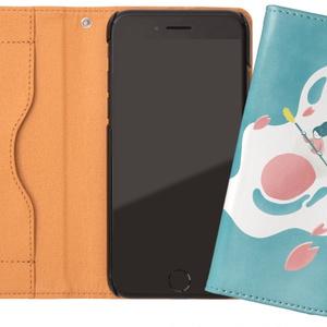 猫と肉球のスマホケース (グリーン) iPhoneケース 手帳型ケース