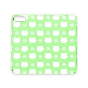 猫と肉球のスマホケース (グリーン) iPhoneケース 手帳型ケース ベルトなし