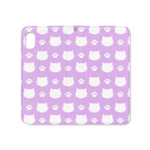 猫と肉球のスマホケース (パープル) iPhoneケース 手帳型ケース ベルトなし