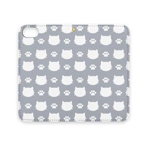 猫と肉球のスマホケース (グレー) iPhoneケース 手帳型ケース ベルトなし