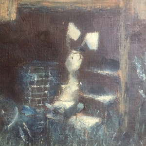 油絵レザーラビット14 雨の日