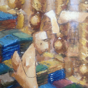 油絵レザーラビット22 大図書館