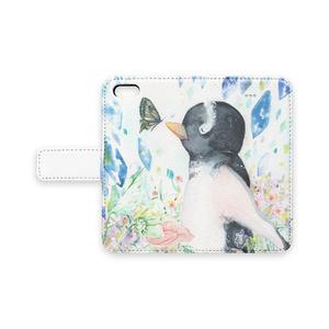 ペンギンと蝶 iPhoneケース