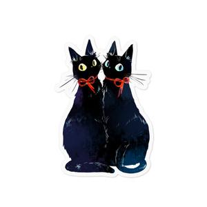 双子の黒猫ステッカー